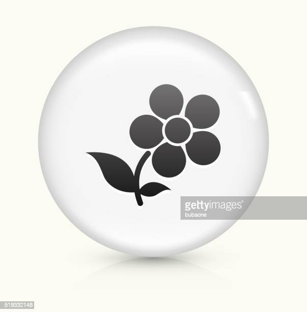 Flowers icon on white round vector button