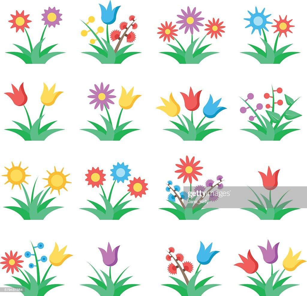 Flowers icons set. Colorful flat design concepts. Vector illustration