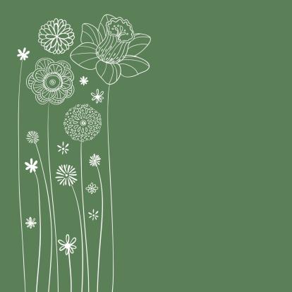 Flowers illustration in green - gettyimageskorea