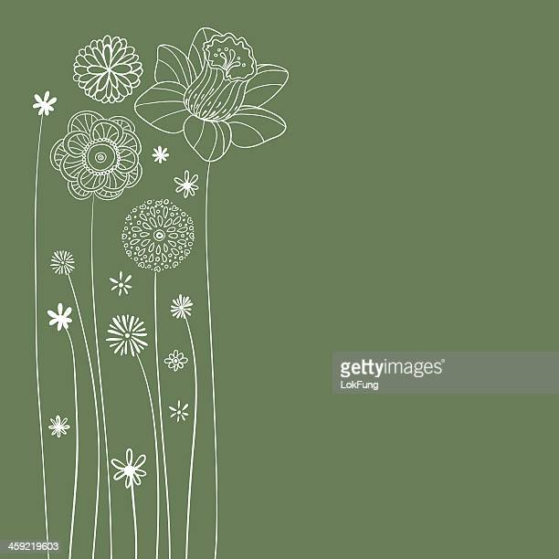 flowers illustration in green - plant stem stock illustrations, clip art, cartoons, & icons