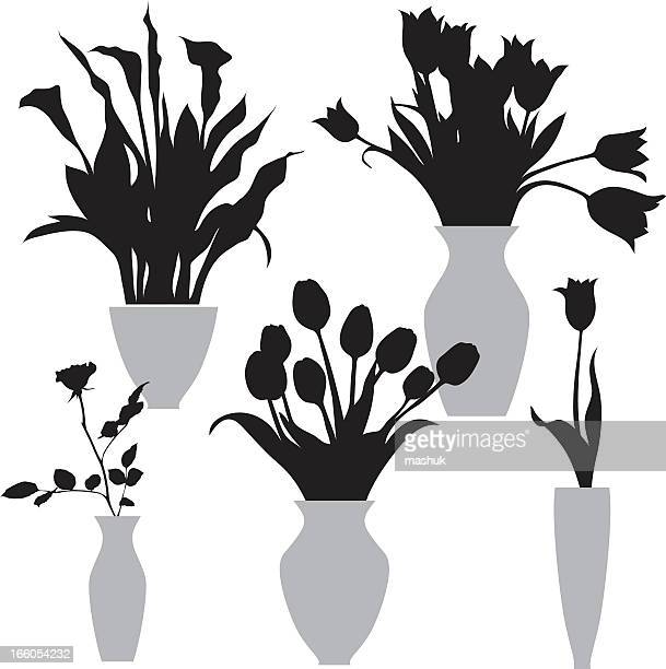 flowers in the vase - calla lily stock illustrations, clip art, cartoons, & icons