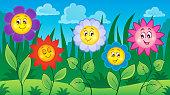 Flowers on meadow theme 4