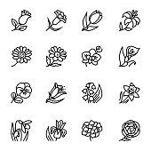 Flowers outline flat vector icon set. Vector illustration for pattern and background