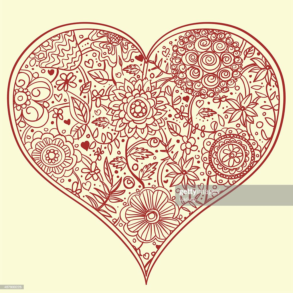 Flowers Pattern Inside A Heart Shape Frame Vector Art | Getty Images