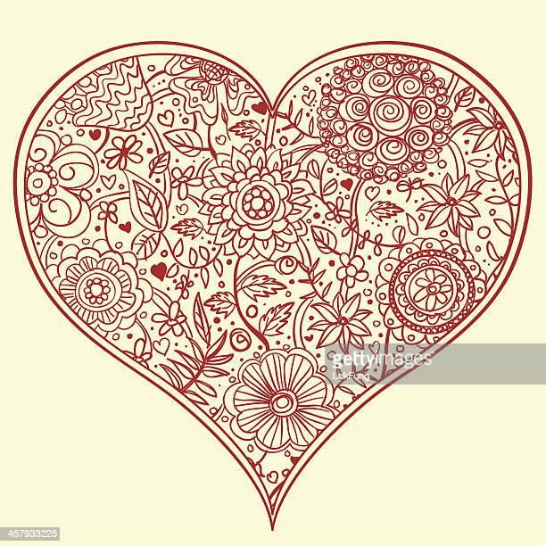 flowers pattern inside a heart shape frame - carnation flower stock illustrations, clip art, cartoons, & icons