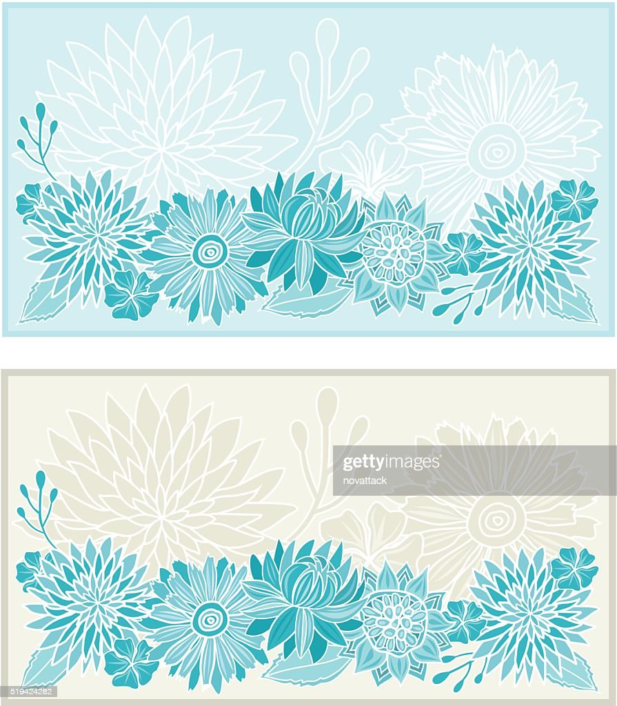flowers pattern template background invitation card vector art
