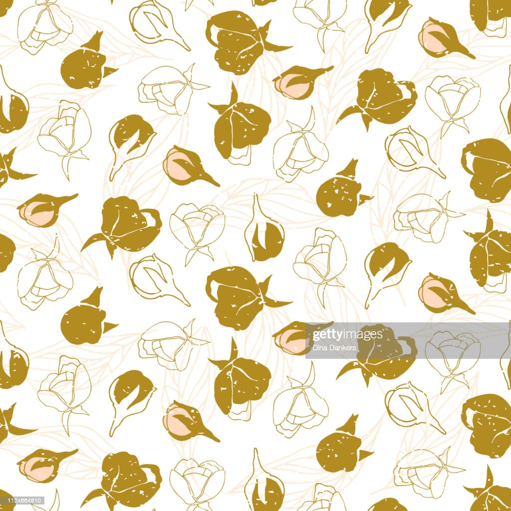 Flowers pattern vector. Floral seamless background with stylized hand drawn flowers and leaves.