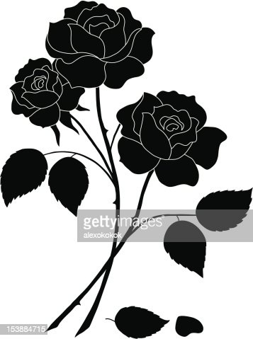 Flowers Rose Silhouette Vector Art | Getty Images