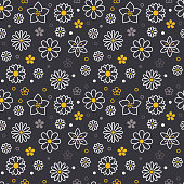 Flowers seamless pattern with flat line icons. Floral background beautiful garden plants chamomile, sunflower, rose flower, violet blossom. Black gray yellow white color texture for kids fabric