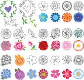 Flowers set (different styles drawn)