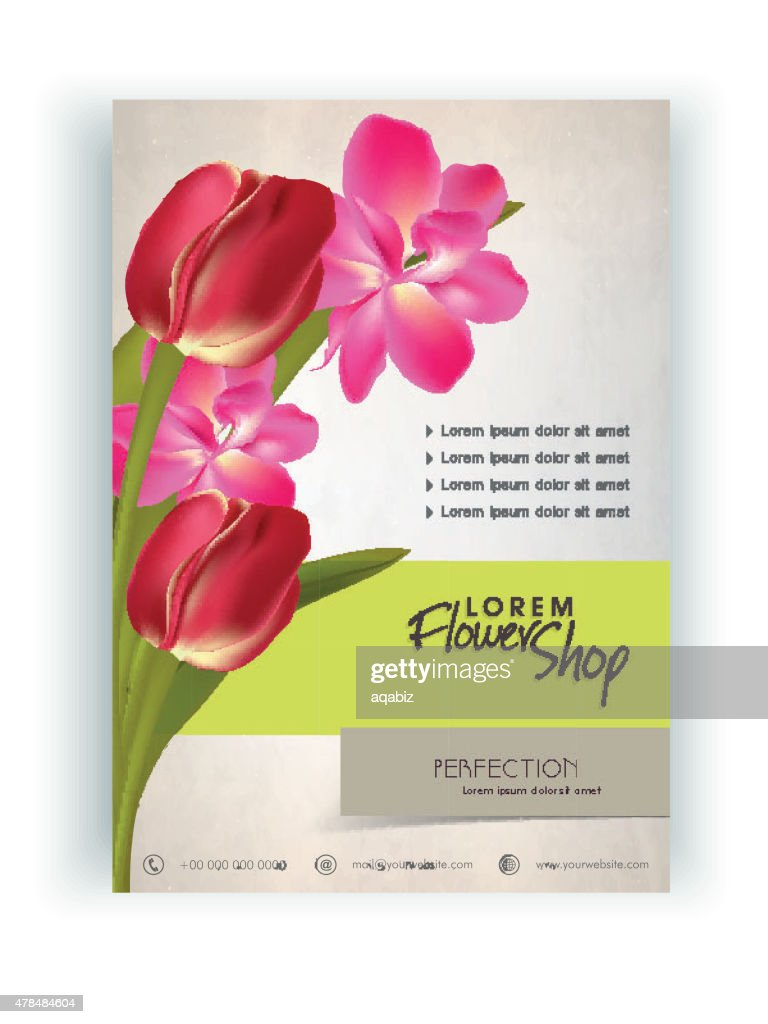 Flowers Shop flyer, banner or template.