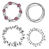 flowers wreath circle pattern