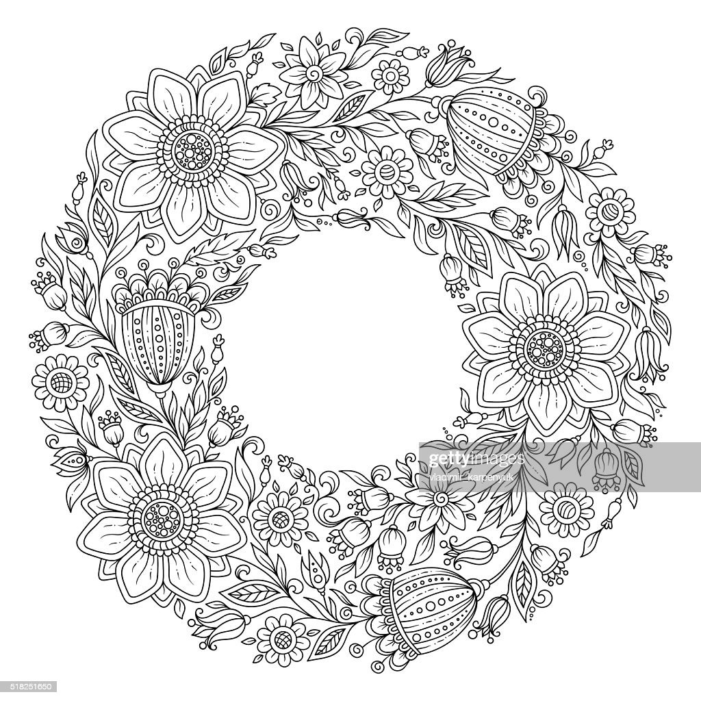 Flowers wreath. Coloring book page for adult