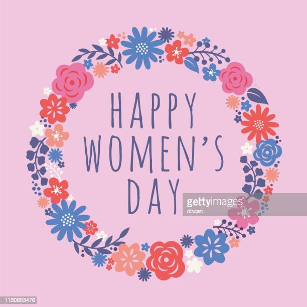 ilustrações de stock, clip art, desenhos animados e ícones de flowers wreath for international women's day celebration. - dia internacional da mulher