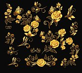 Flowers.Vector illustration with gold roses. Vintage decoration.