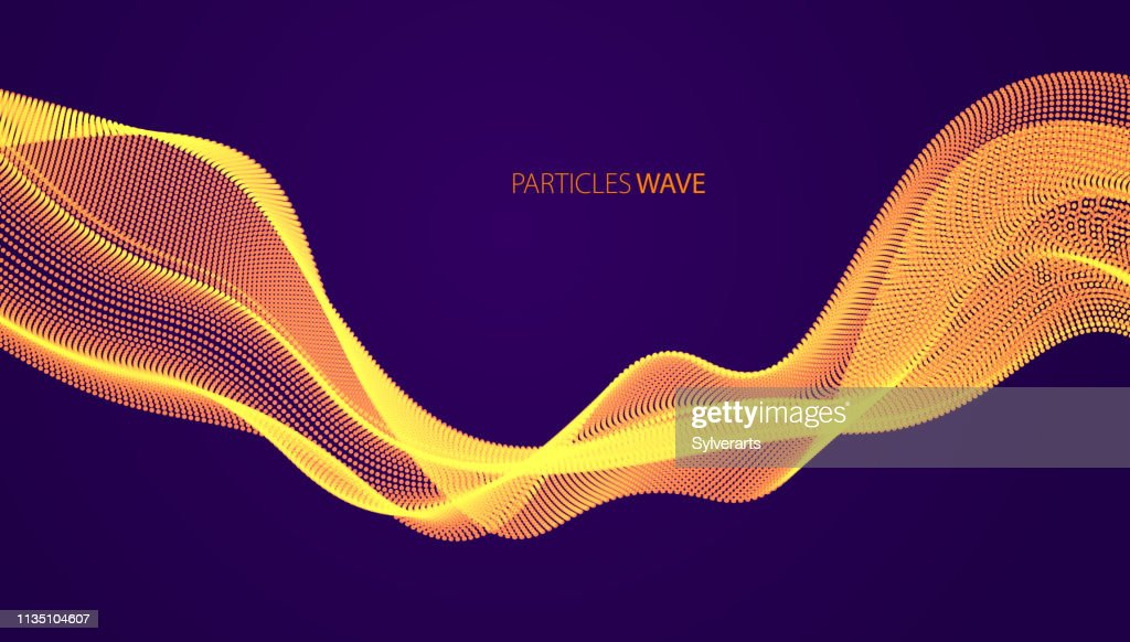 Flowing energy particles, wave of blended dots over dark. Curved dotted 3d lines vector illustration. 3d futuristic technology style with glowing shining effect.