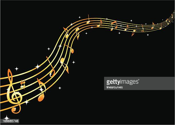 flowing golden music - treble clef stock illustrations, clip art, cartoons, & icons