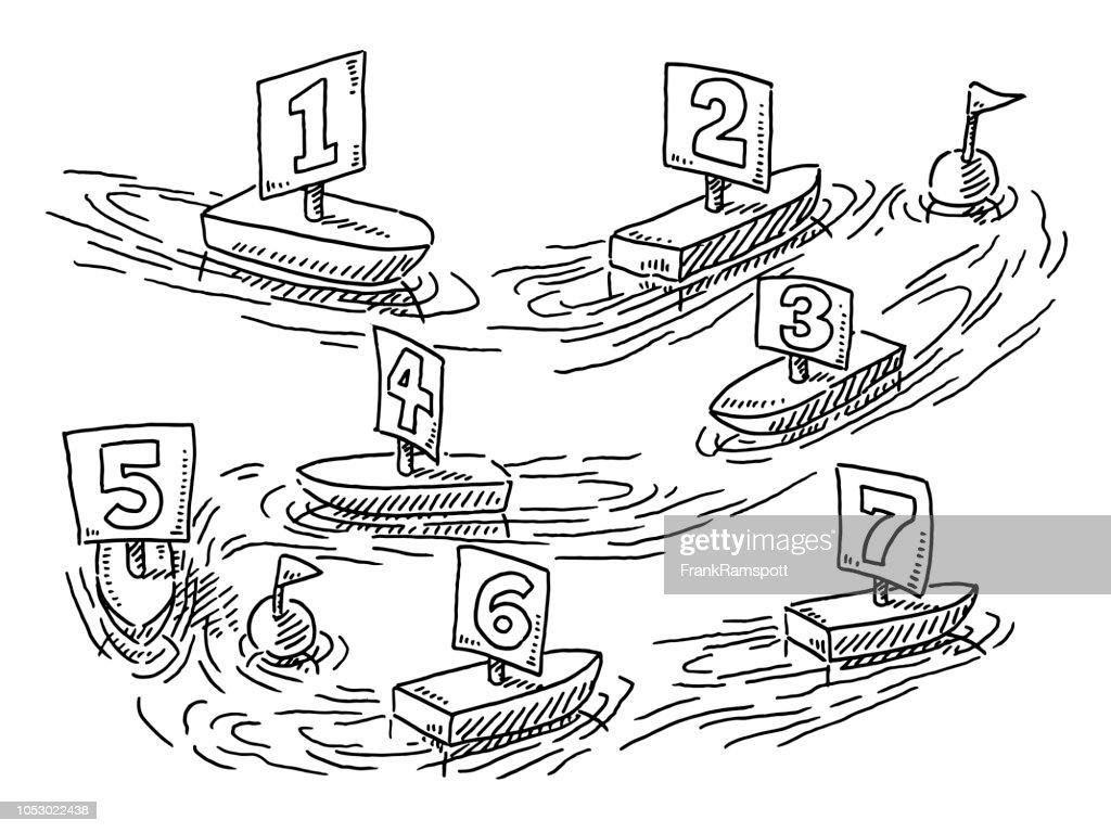 Fließende Segelboote Regatta Konzept Zeichnung : Vektorgrafik
