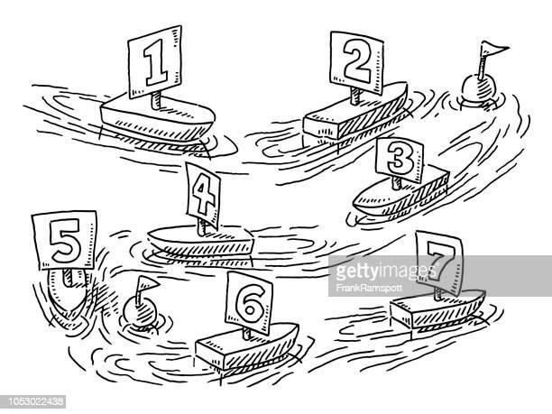 Fließende Segelboote Regatta Konzept Zeichnung