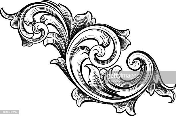 flowing scrolls - art nouveau stock illustrations, clip art, cartoons, & icons