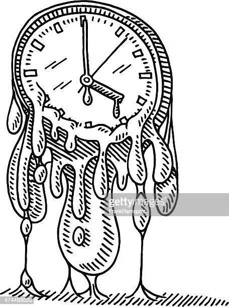 Flowing Time Concept Clock Drawing