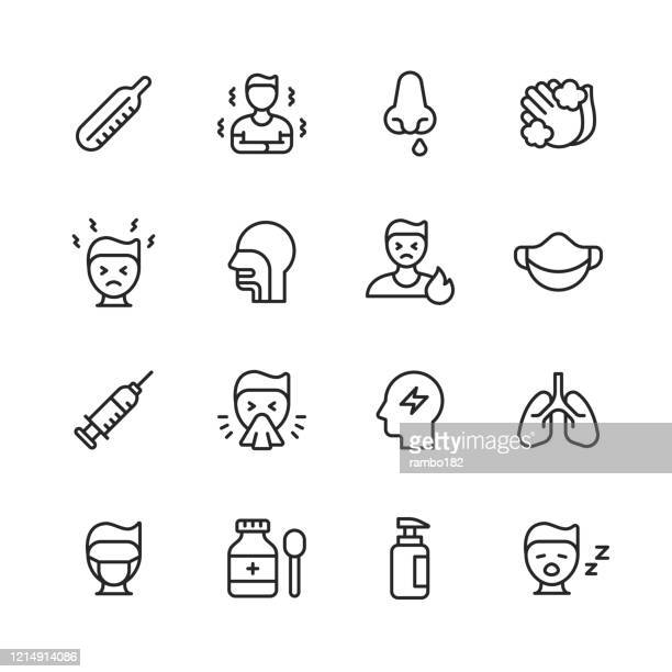 flu and cold line icons. editable stroke. pixel perfect. for mobile and web. contains such icons as flu, coronavirus, virus, blowing nose, coughing, fever, sneezing, washing hands, thermometer, medicine, hospital. - tired stock illustrations