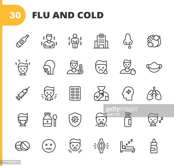 flu and cold line icons. editable stroke. pixel perfect. for mobile and web. contains such icons as flu, coronavirus, virus, blowing nose, coughing, fever, sneezing, washing hands, thermometer, medicine, hospital, doctor, vaccine, pills, muscle pain. - shaking stock illustrations