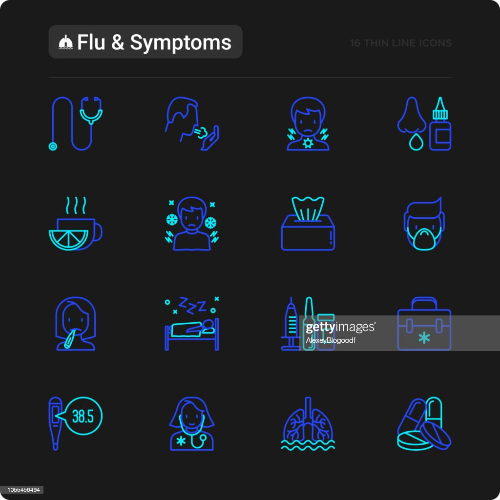 Flu and symptoms thin line icons set: temperature, chills, heat, runny nose, doctor with stethoscope, nasal drops, cough, phlegm in the lungs. Modern vector illustration for black theme.