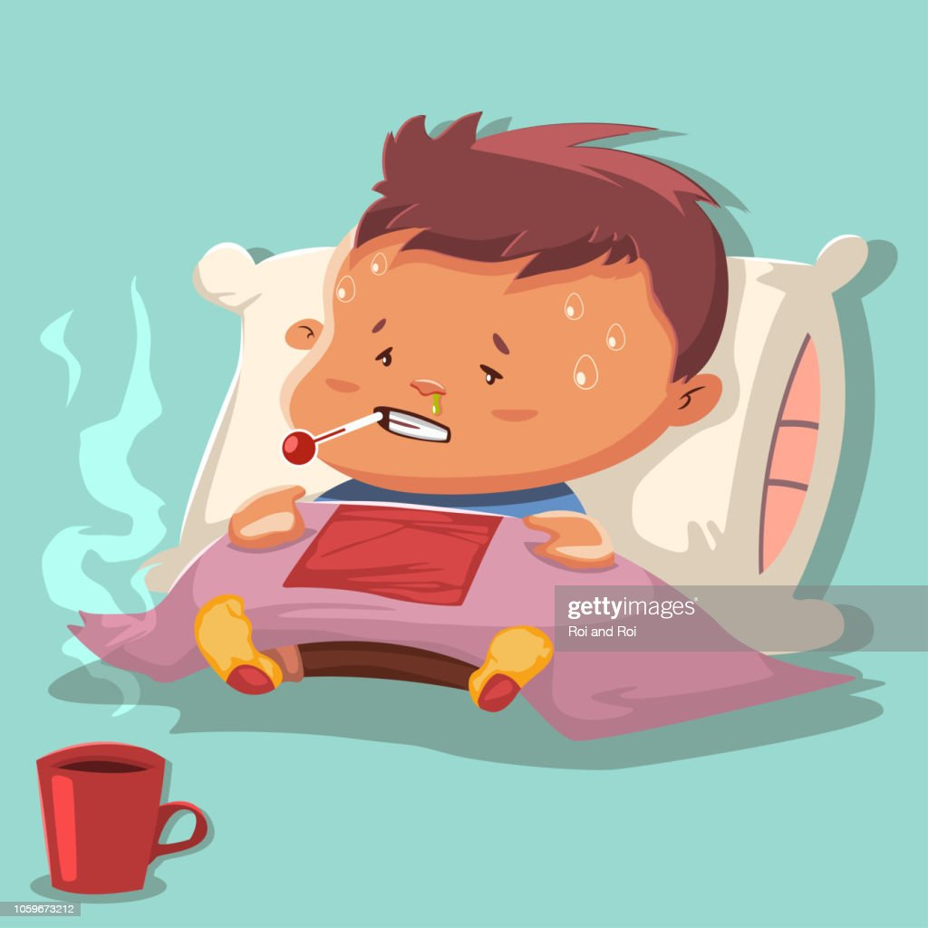 Flu cartoon vector illustration with a sick child character on a pillow and covered a blanket, with runny nose and thermometer in the mouth with a high fever and hot chicken broth in a mug.