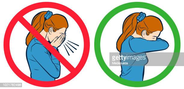flu cough vector sign - coughing stock illustrations