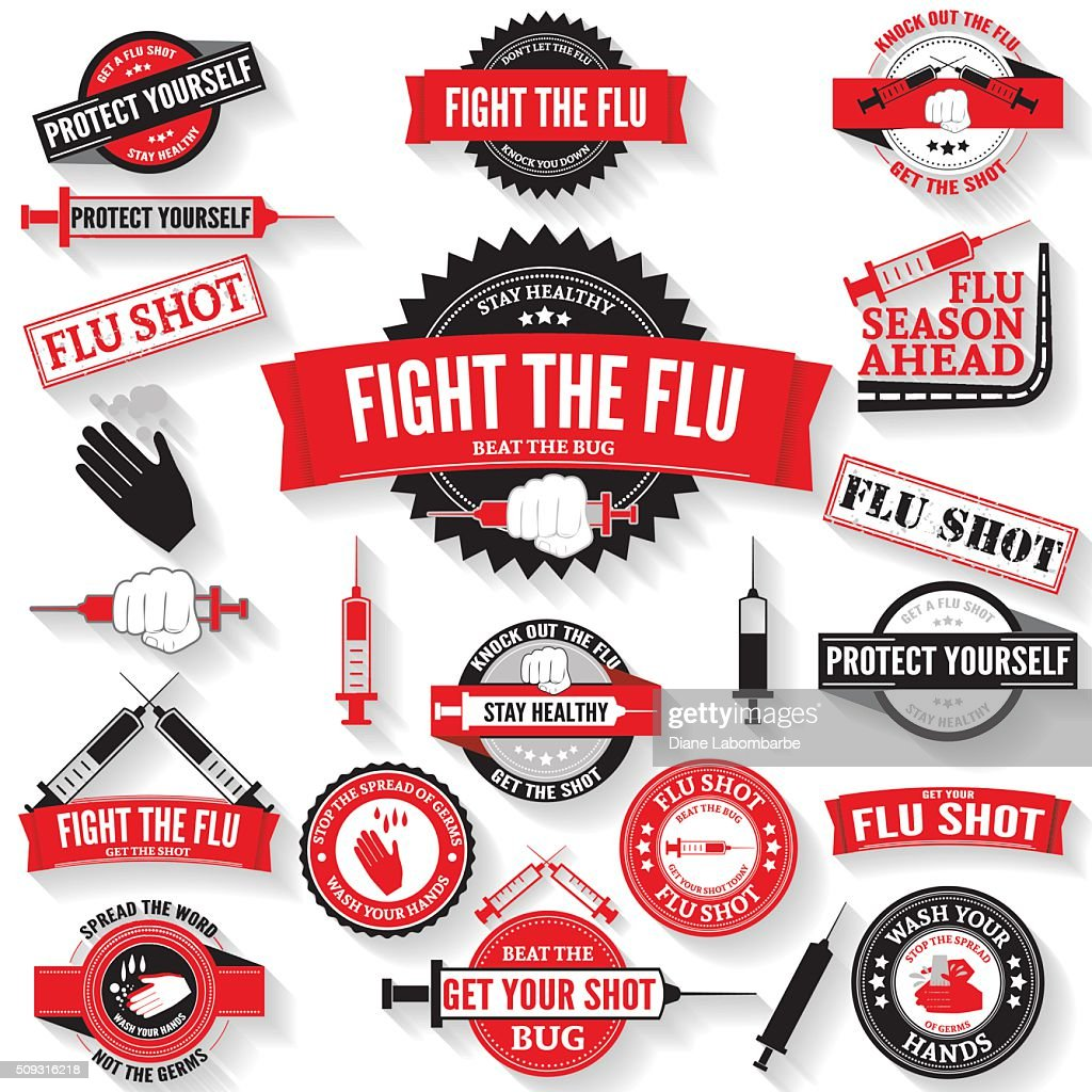 Flu Shot and Hand Washing Badges and Stamps