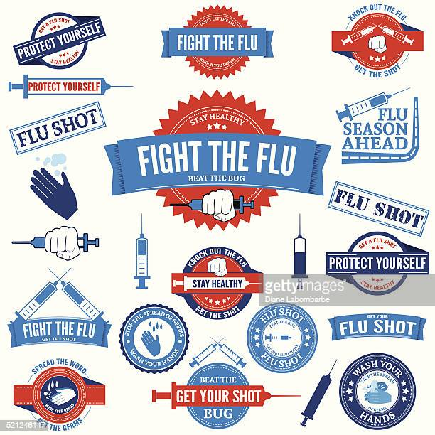 flu shot and hand washing badges and stamps - injecting stock illustrations