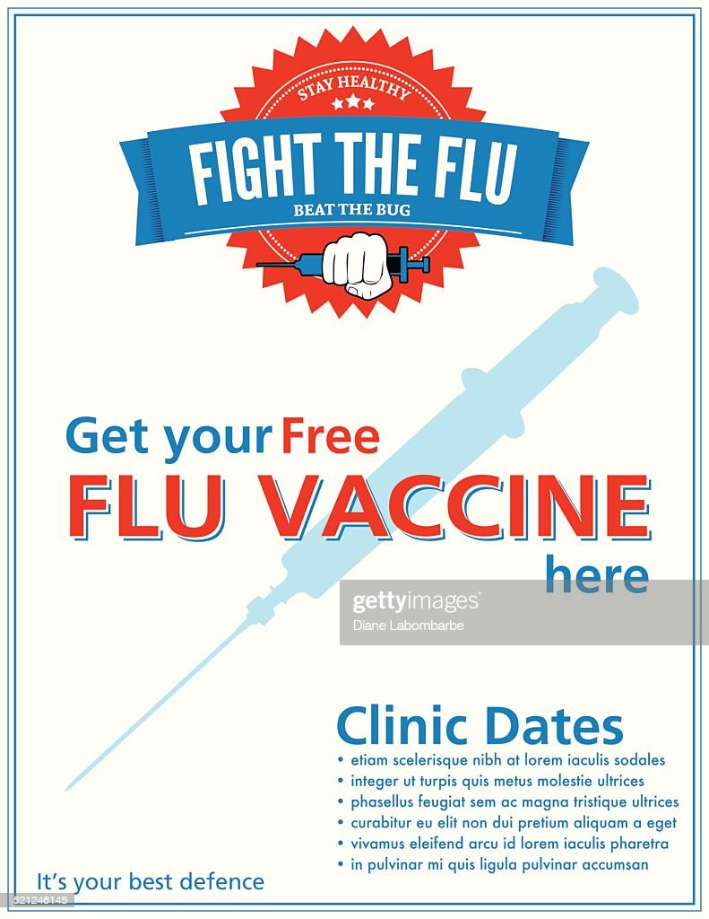 Flu Shot Clinic Poster Sign Template Vector Art | Getty Images