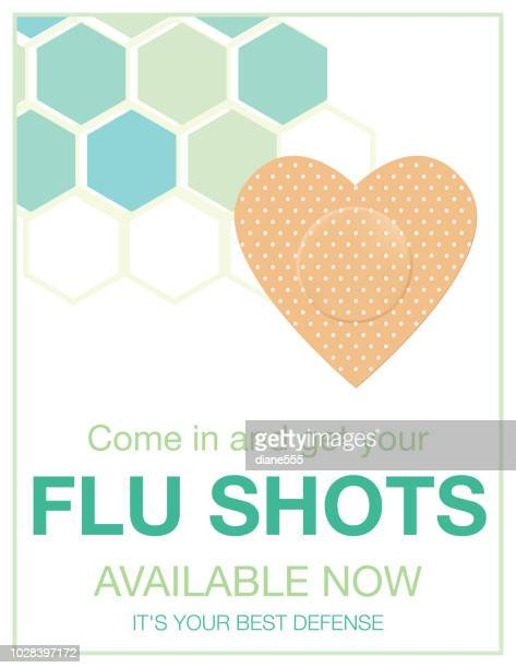 flu shot clinic poster - injecting stock illustrations