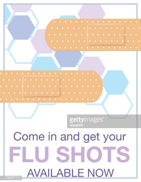flu shot clinic poster - cold and flu stock illustrations