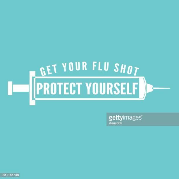 インフルエンザ予防接種ショット バッジまたはアイコン