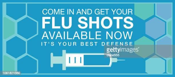 illustrations, cliparts, dessins animés et icônes de bannière web shot grippe - seringue