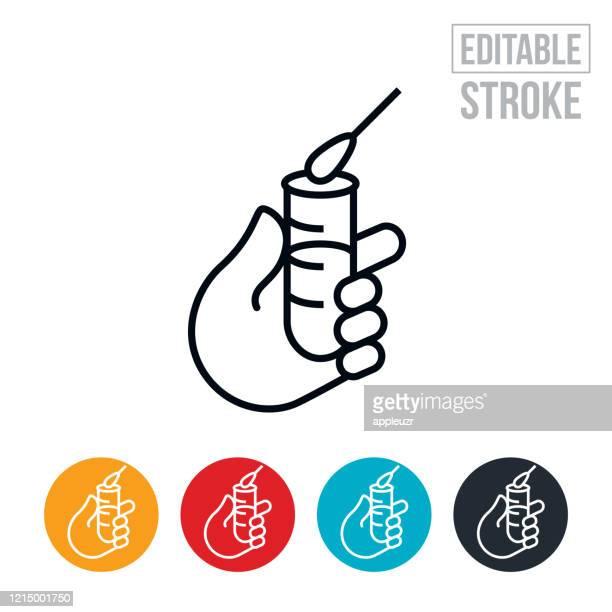 grippe-virus-test thin line icon - editable stroke - wissenschaftliches experiment stock-grafiken, -clipart, -cartoons und -symbole