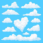 Fluffy clouds in the cartoon style.