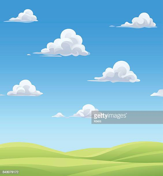fluffy clouds over green hills - cloud sky stock illustrations