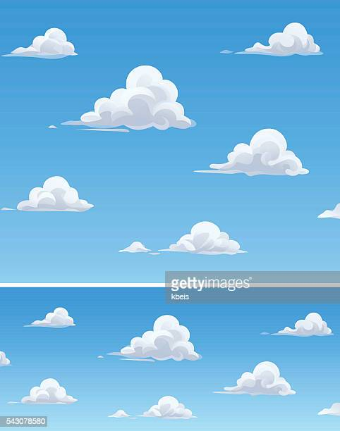 fluffy clouds - cloudscape stock illustrations, clip art, cartoons, & icons