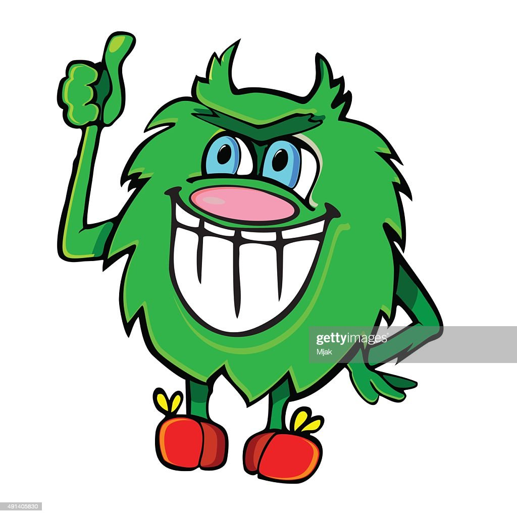 Fluffy green monster