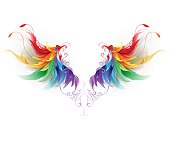 fluffy rainbow wings