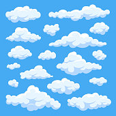 Fluffy white cartoon clouds in blue sky vector set. Cloudy day heaven