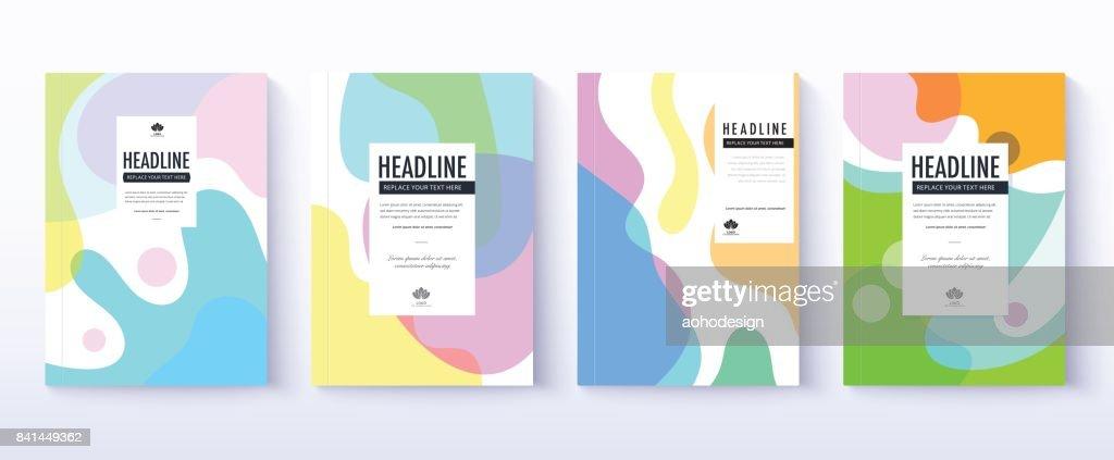 Fluid color covers design. transformation of fluid color. cover design set.