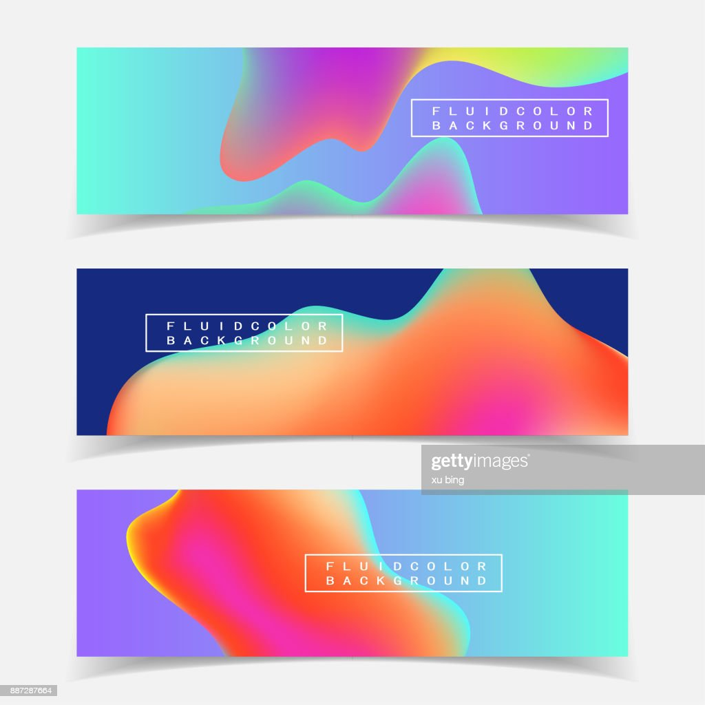 Fluid colors backgrounds set. Vector template