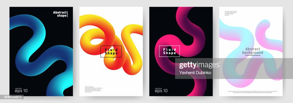 Fluid shape background. Abstract liquid shapes for poster, brochure background. Set of dynamic and modern covers