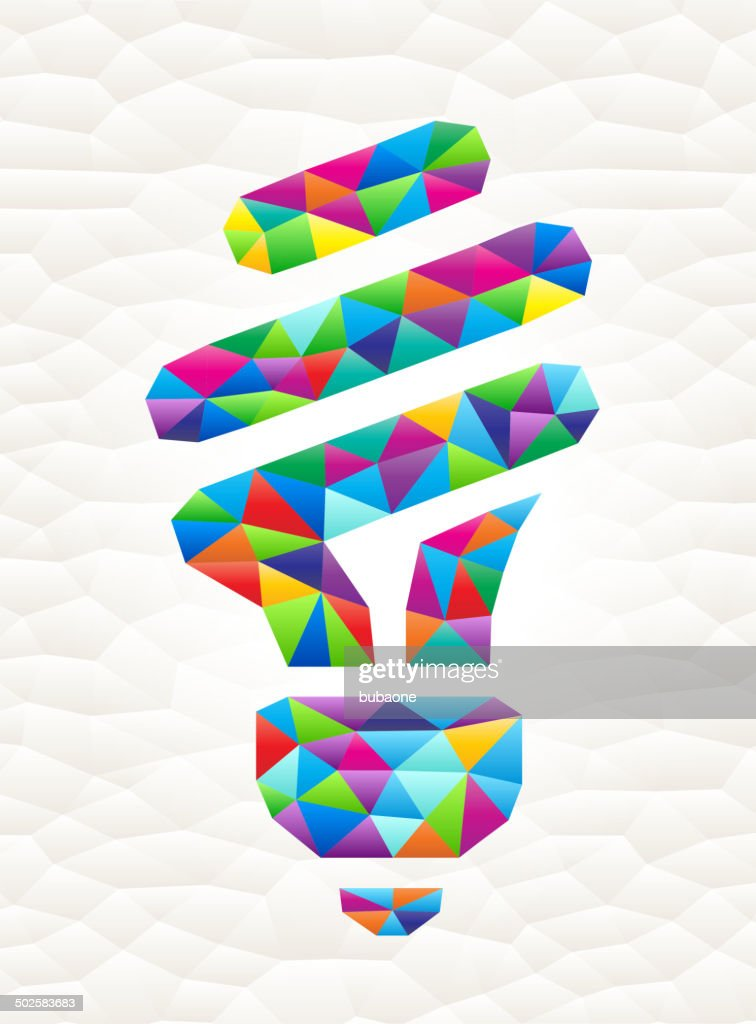 Fluorescent Lightbulb on triangular pattern mosaic royalty free vector art