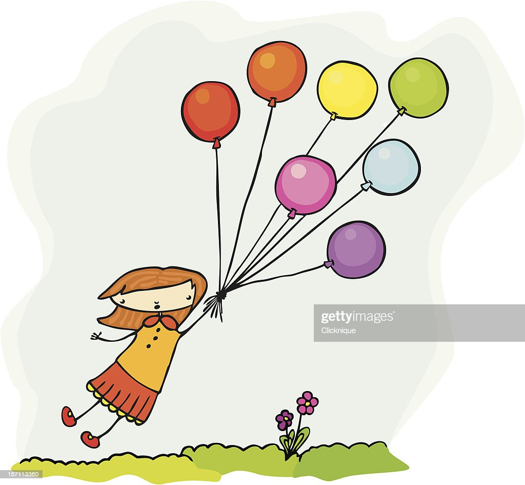 Fly away girl is borne aloft by balloons : stock illustration