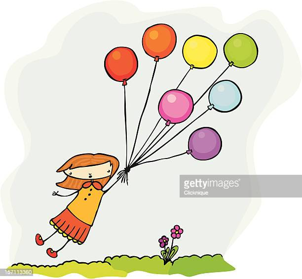 fly away girl is borne aloft by balloons - one girl only stock illustrations, clip art, cartoons, & icons
